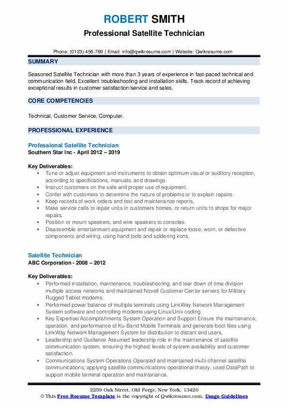 Professional Satellite Technician Resume Model