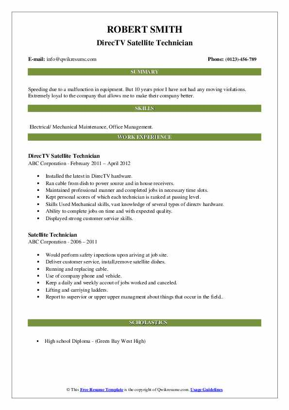 DirecTV Satellite Technician Resume Model