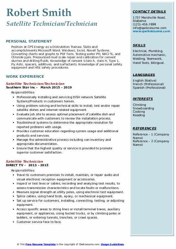 Satellite Technician/Technician Resume Template