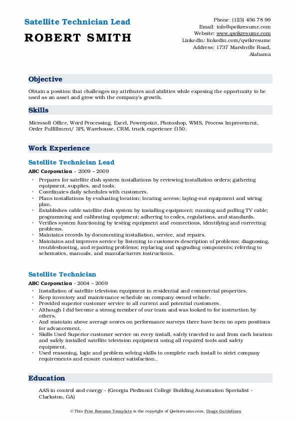 Satellite Technician Lead Resume Format
