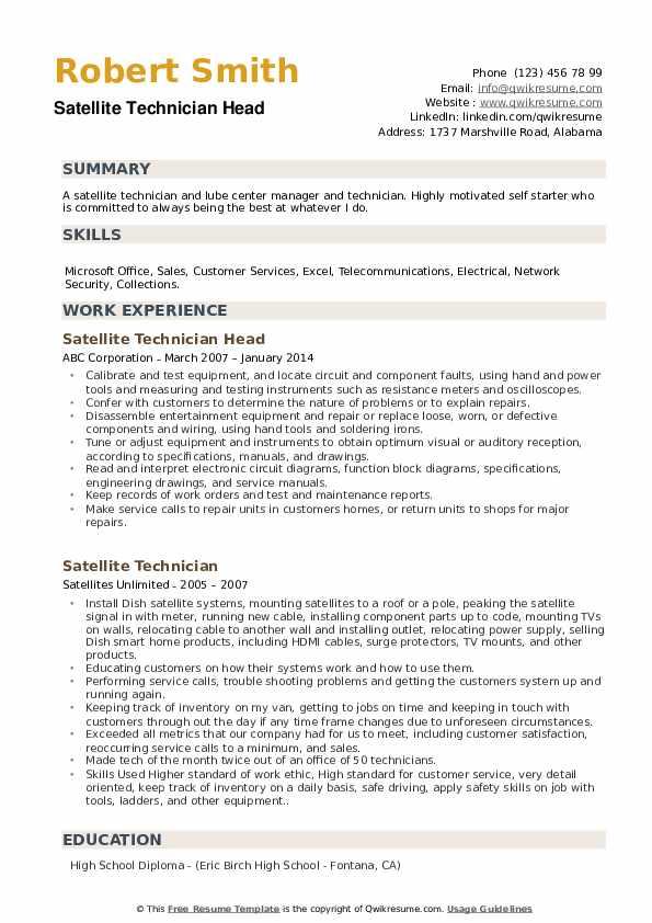 Satellite Technician Head Resume Format