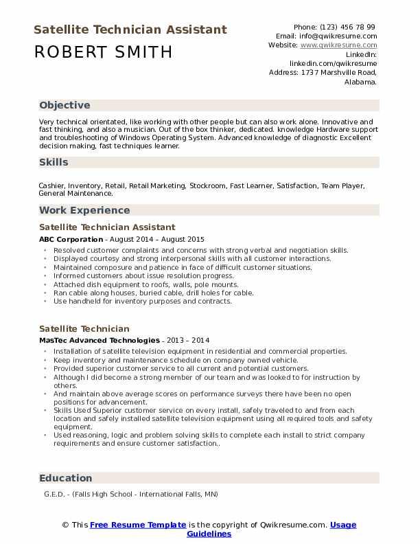 Satellite Technician Assistant Resume Sample