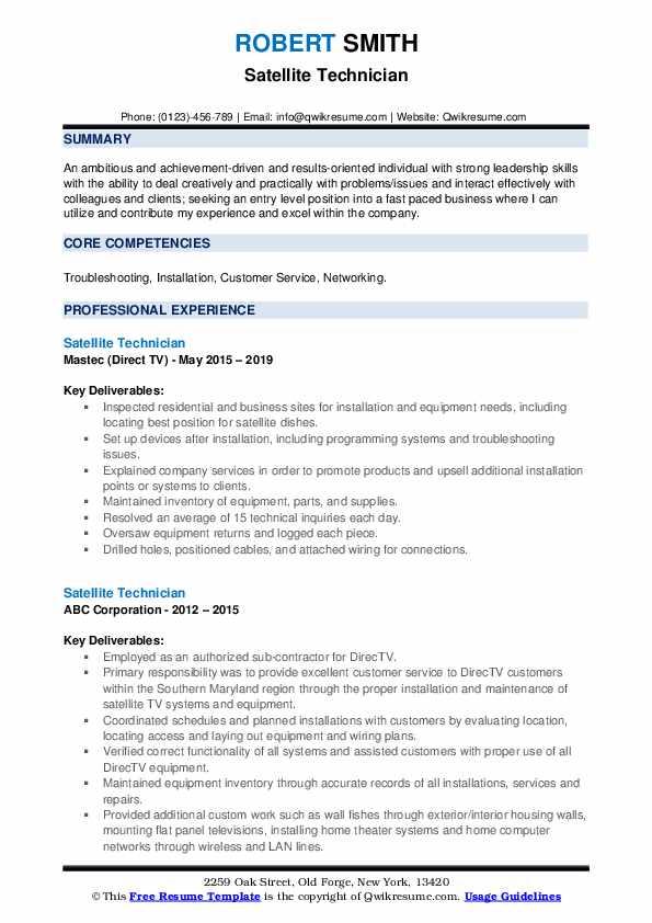 Satellite Technician Resume Samples | QwikResume