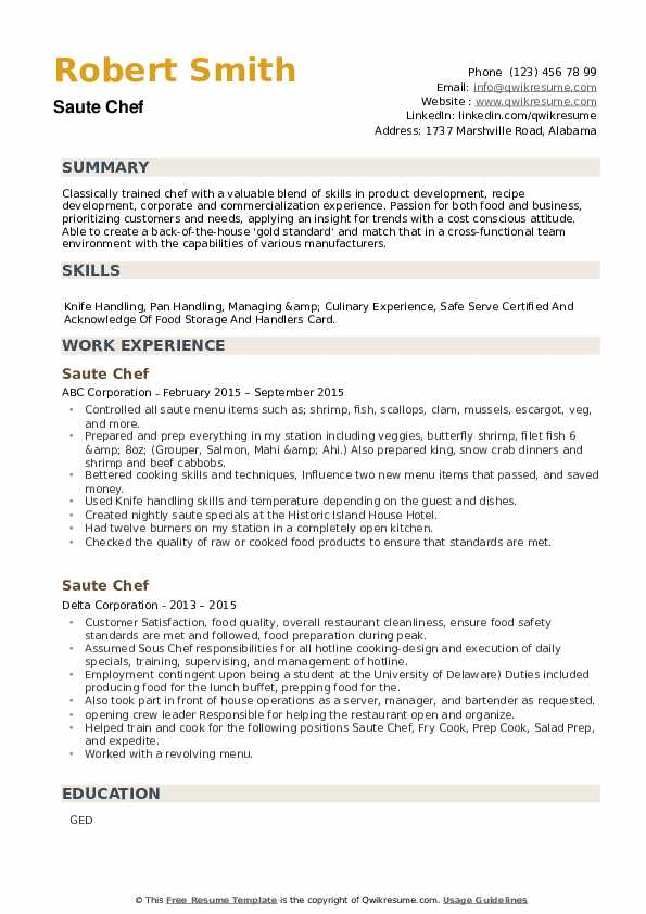 Saute Chef Resume example