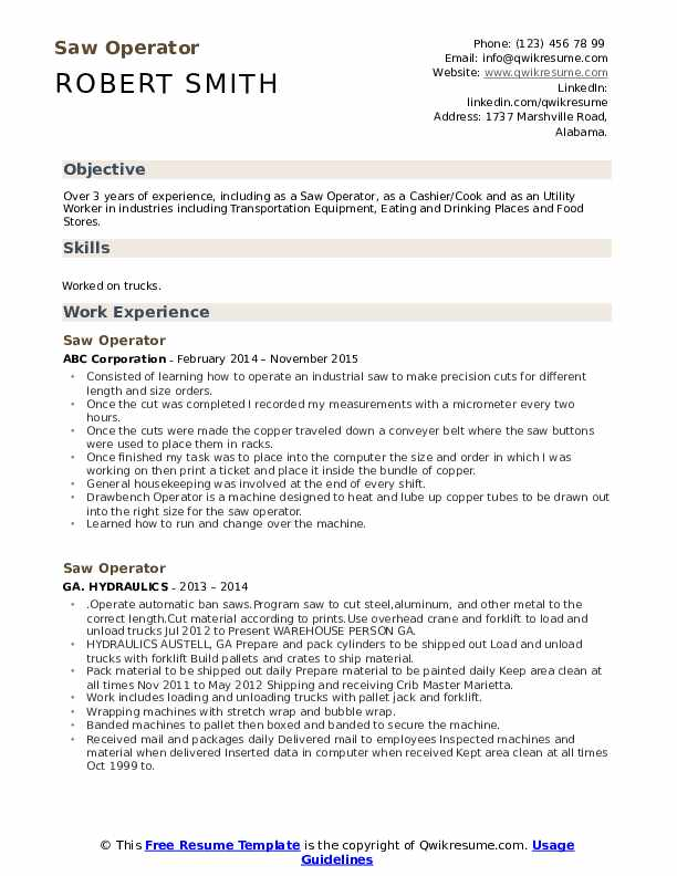 Saw Operator Resume Template