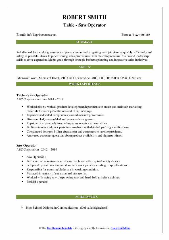 Table - Saw Operator Resume Sample