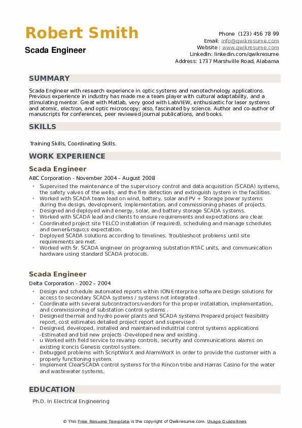 Scada Engineer Resume example