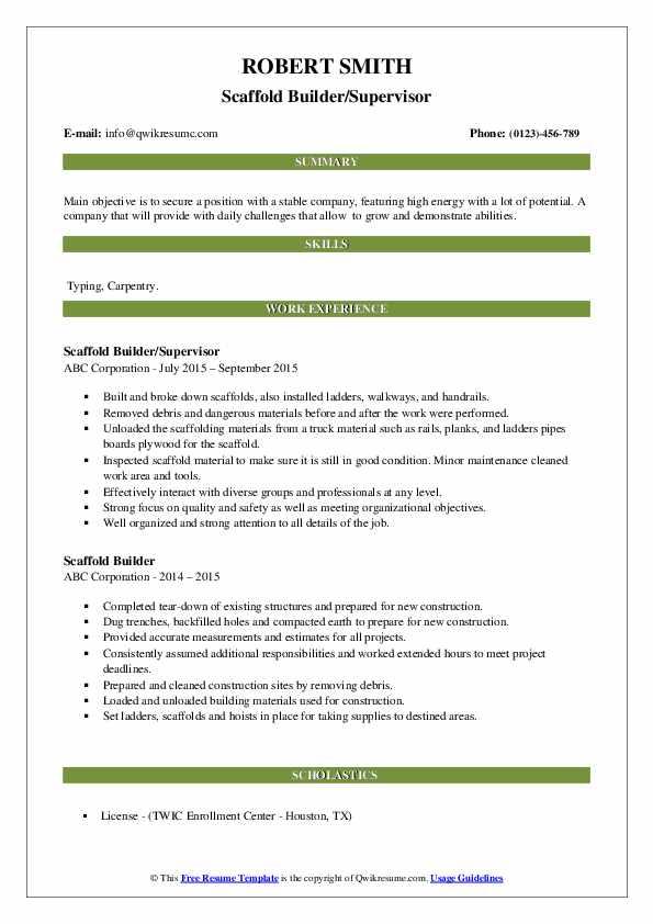 scaffold builder resume samples