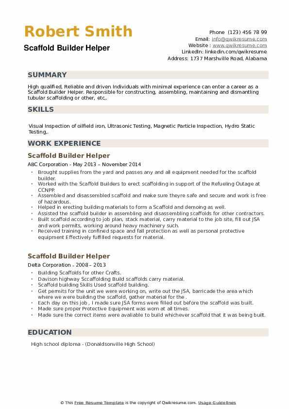 Scaffold Builder Helper Resume example