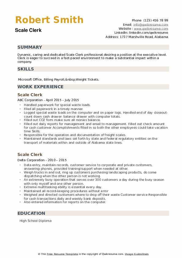Scale Clerk Resume example