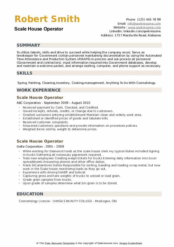 Scale House Operator Resume example