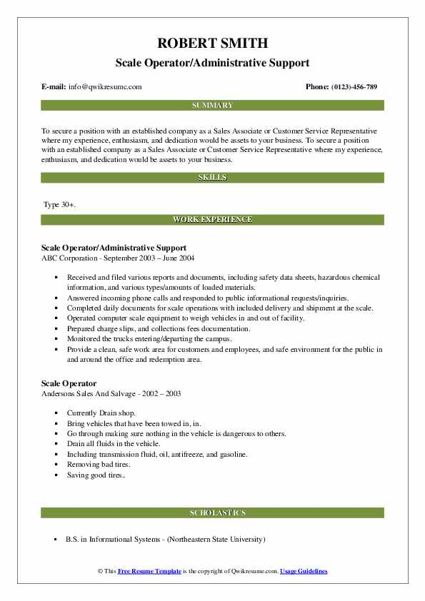 Scale Operator/Administrative Support Resume Template