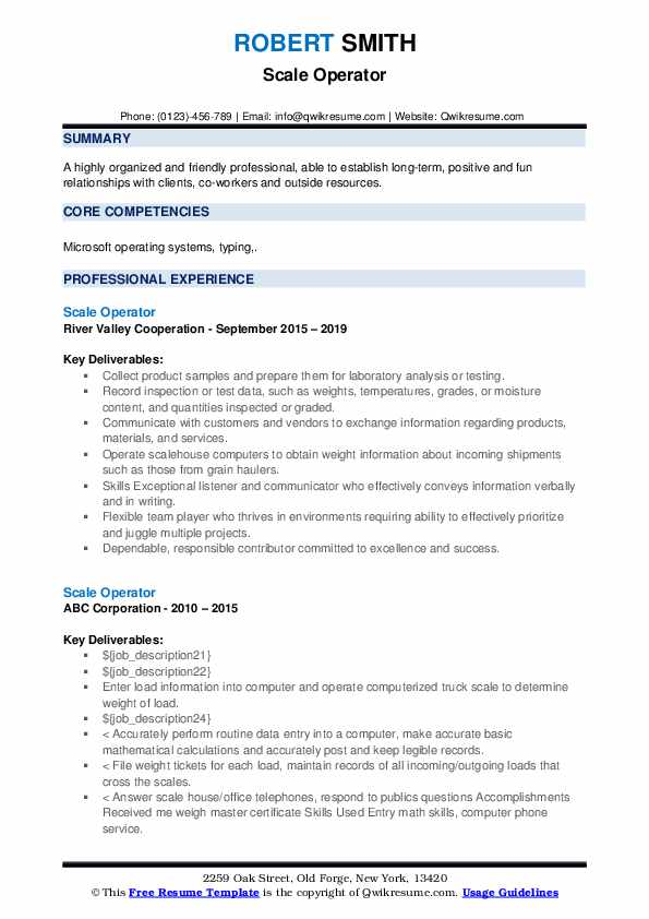 Scale Operator Resume example