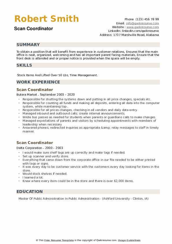 Scan Coordinator Resume example