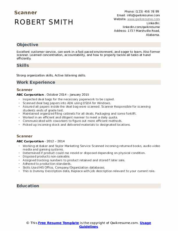 Scanner Resume example