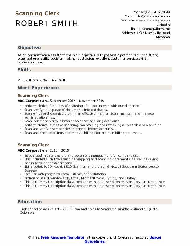 Scanning Clerk Resume example