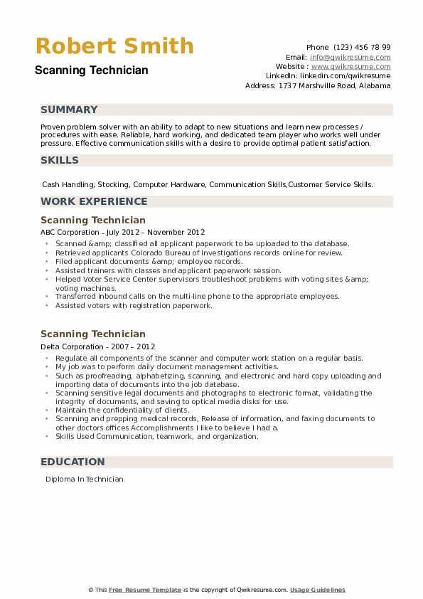 Scanning Technician Resume example