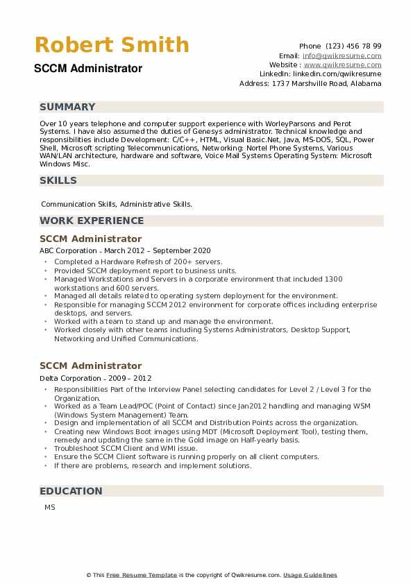 SCCM Administrator Resume example