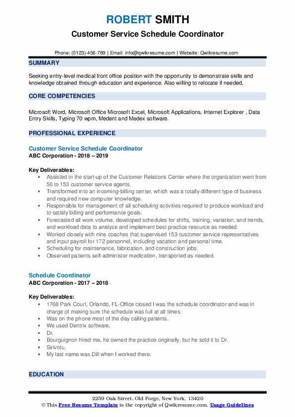 Customer Service Schedule Coordinator Resume Example