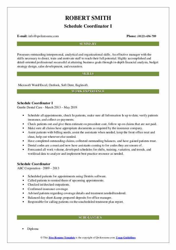 Schedule Coordinator I Resume Example