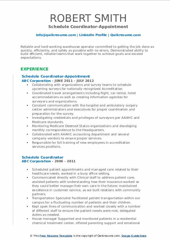 Schedule Coordinator-Appointment Resume Model