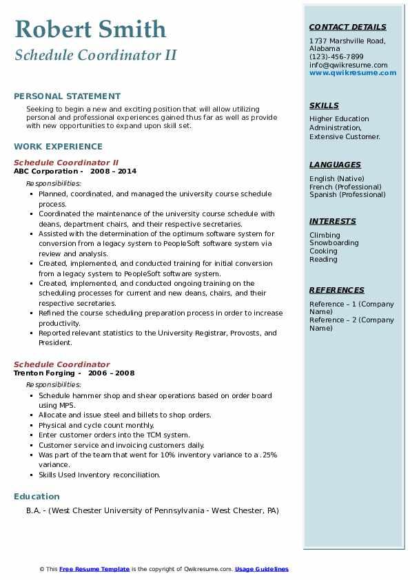 Schedule Coordinator II Resume Format