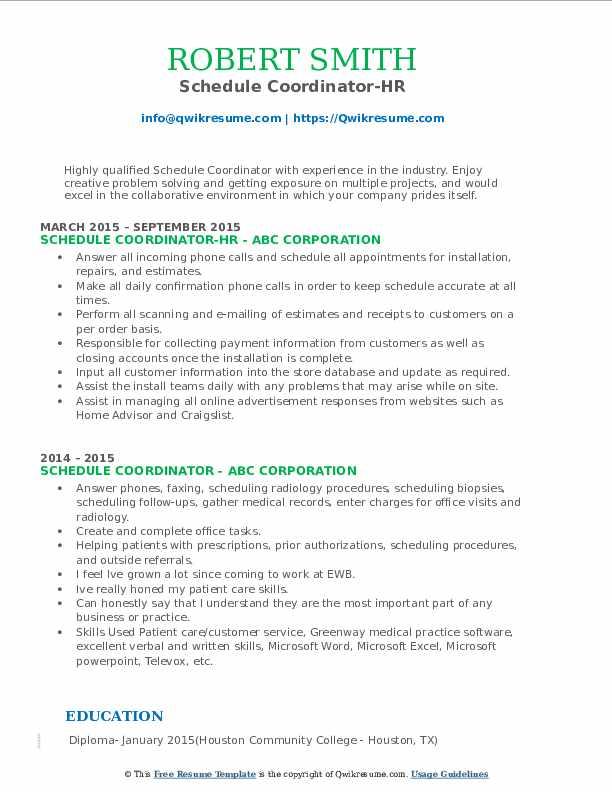 Schedule Coordinator-HR Resume Template