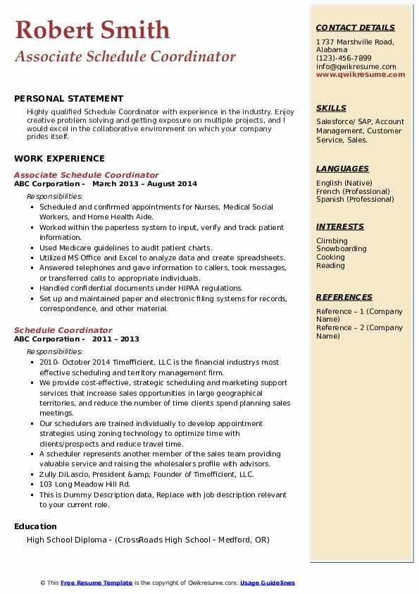 Associate Schedule Coordinator Resume Sample
