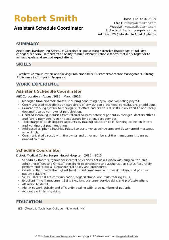Assistant Schedule Coordinator Resume Template