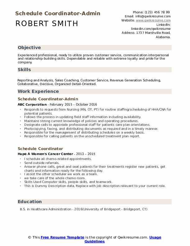 Schedule Coordinator-Admin Resume Template