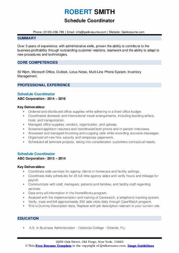 Schedule Coordinator Resume example