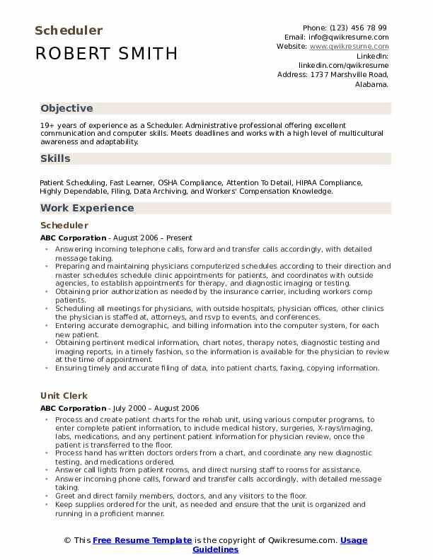 Scheduler  Resume Example
