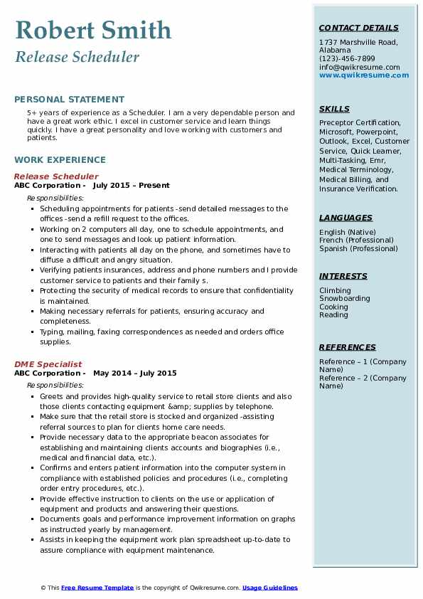 Release Scheduler Resume Template