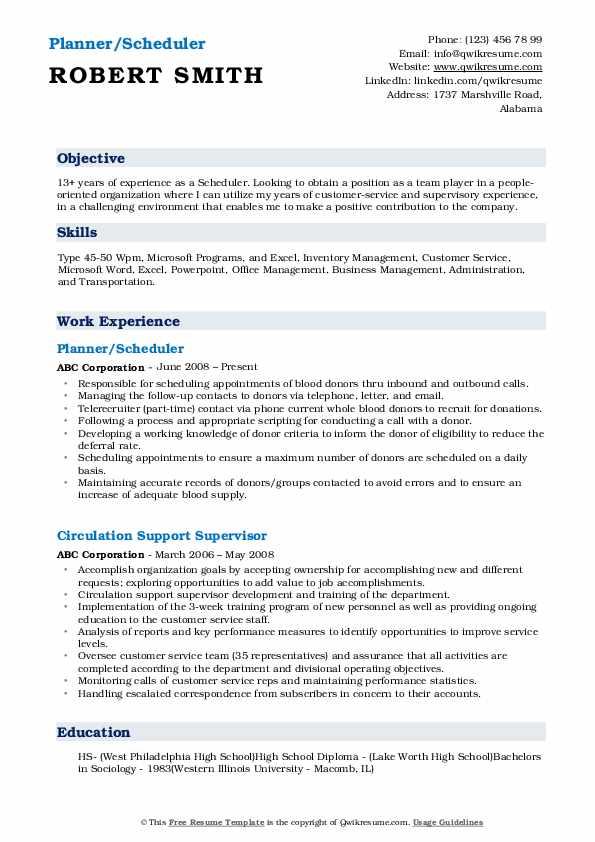 Planner/Scheduler Resume Example