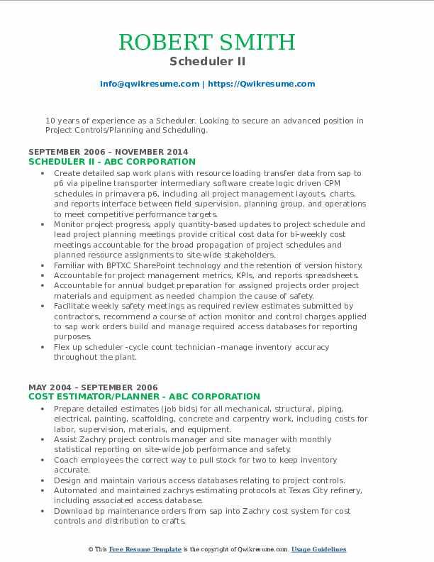 Scheduler II Resume Sample