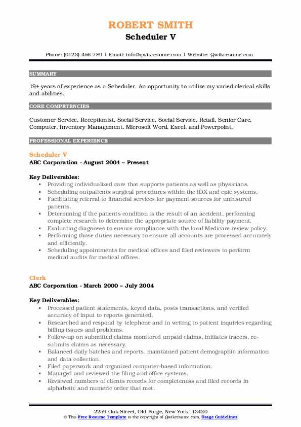 Scheduler V Resume Template