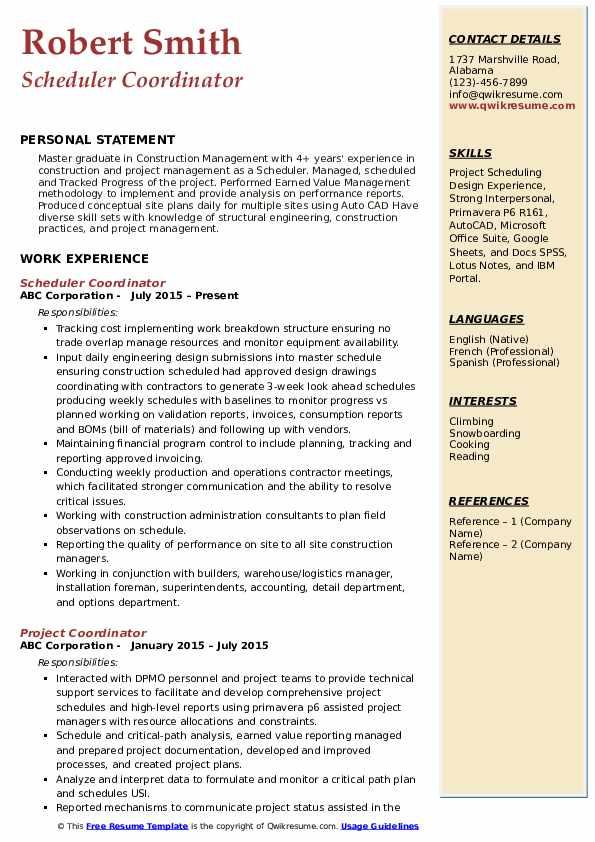 Scheduler Coordinator Resume Template