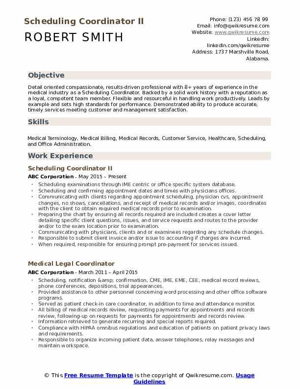 Scheduling Coordinator II Resume Sample