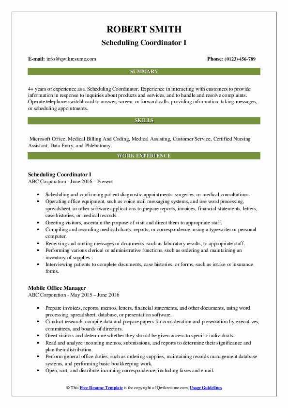 Scheduling Coordinator I Resume Model