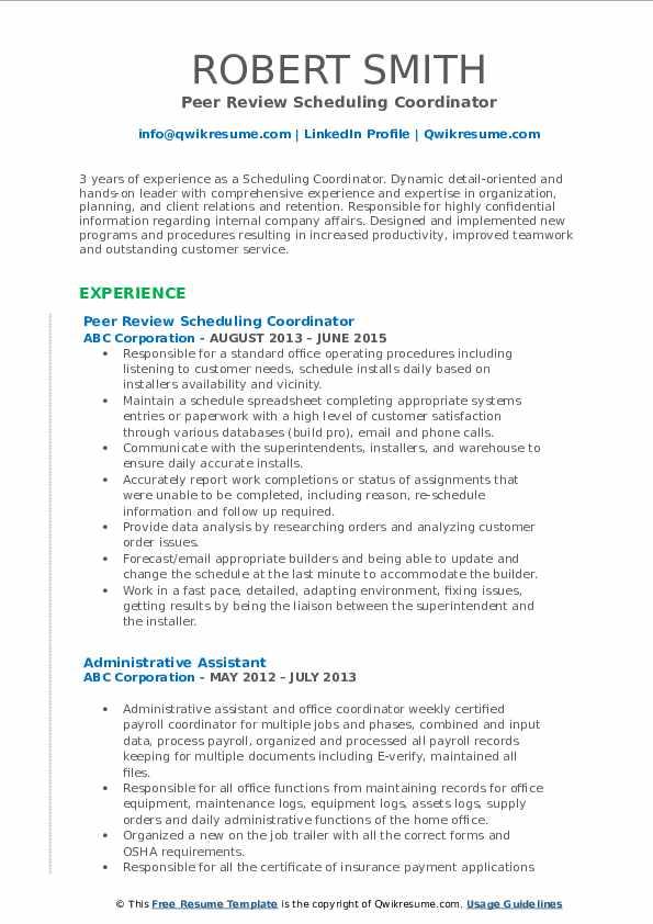 Peer Review Scheduling Coordinator Resume Model