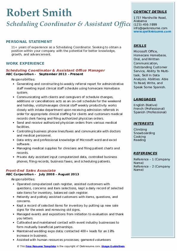 Scheduling Coordinator & Assistant Office Manager Resume Example