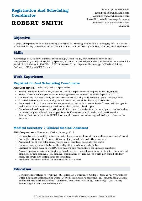Registration And Scheduling Coordinator Resume Sample