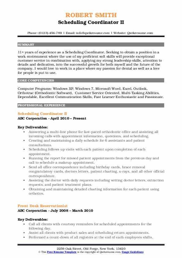 Scheduling Coordinator II Resume Model