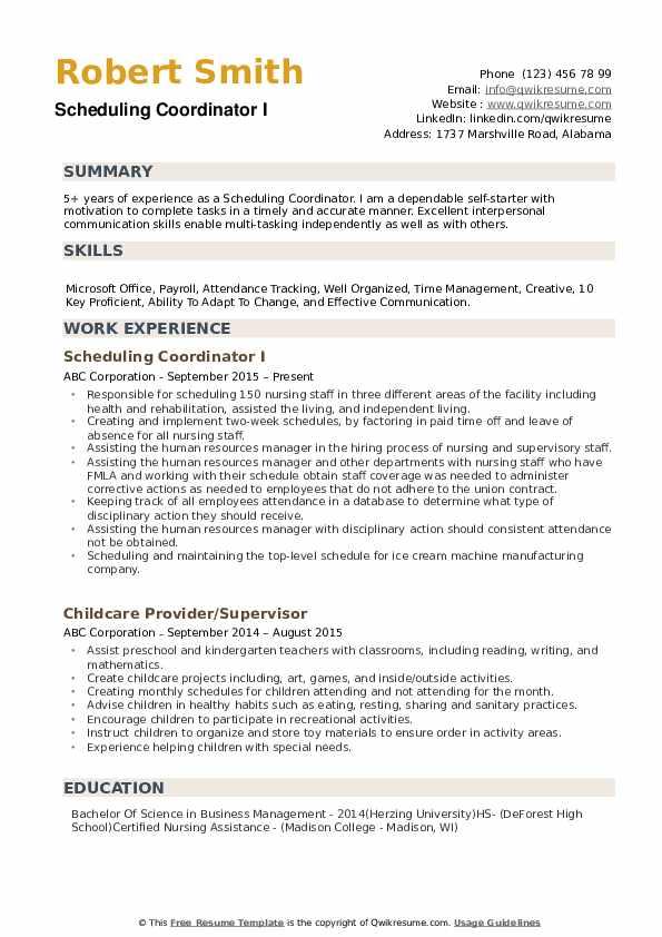 Scheduling Coordinator Resume example