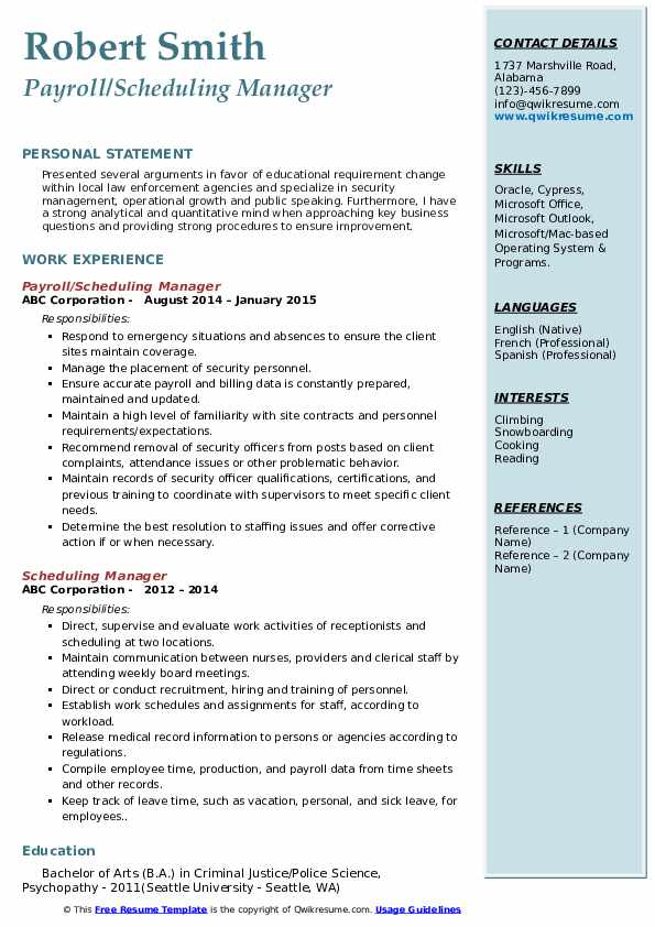 Payroll/Scheduling Manager Resume Example
