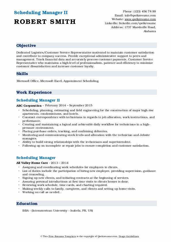 Scheduling Manager II Resume Sample