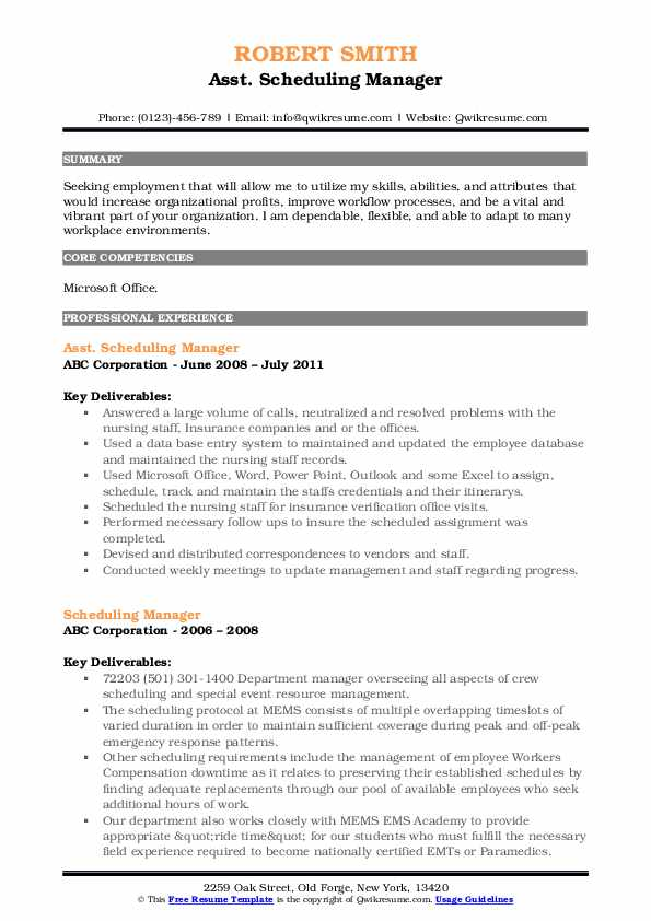 Asst. Scheduling Manager Resume Sample