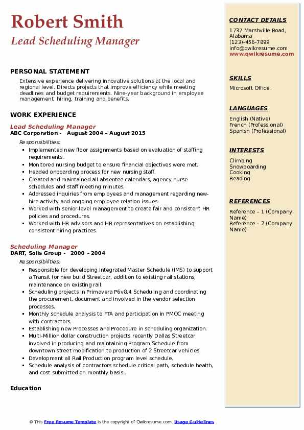 Lead Scheduling Manager Resume Sample
