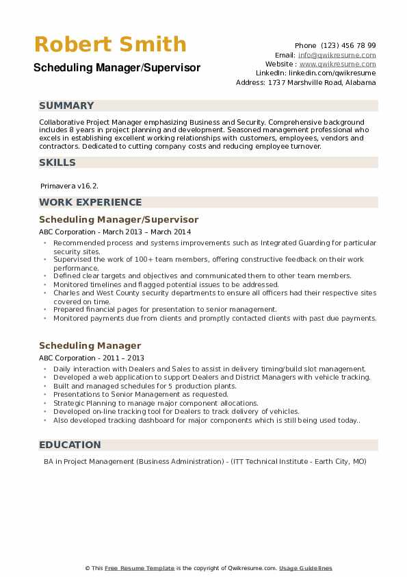 Scheduling Manager/Supervisor Resume Model