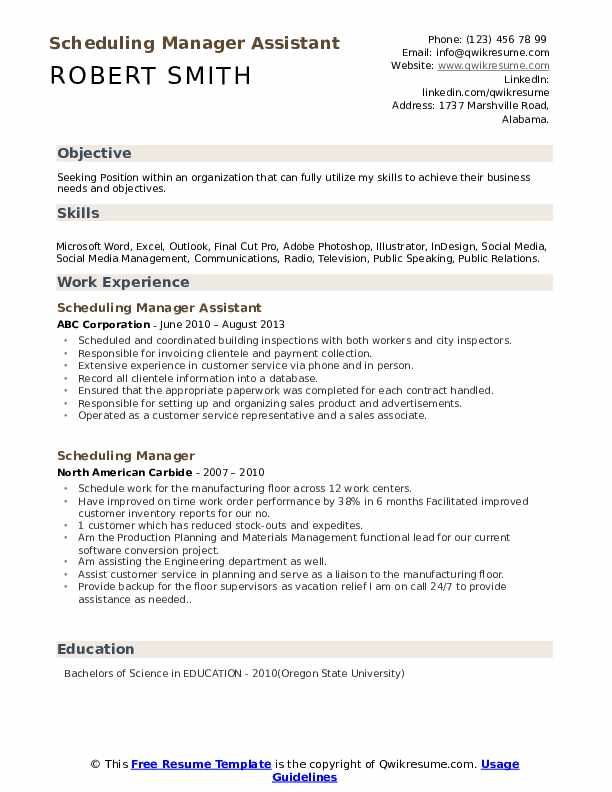 Scheduling Manager Assistant Resume Sample